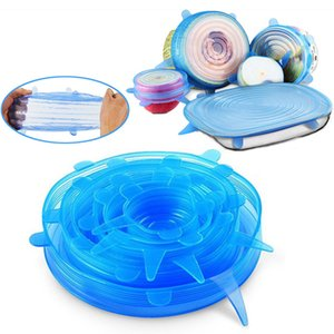 6Pcs Set Silicone Stretch Lids Durable Food Grade Airtight Soft Silicone Lids Food and Bowl Covers for keeping Food and Fruit Fresh