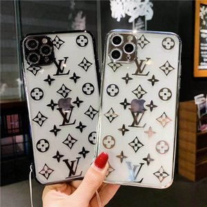 Fashion Designer transparent L shell for iphone 11 11promax 11pro X XSMAX XR with fine hole plating edge P30 P40 mate30 with hanging rope