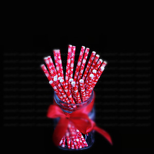 Wholesale Ball Decoration Valentines Decor Christmas Straw Drinking Paper Straws Bachelor Party Children Birthday Party Decor CT0344
