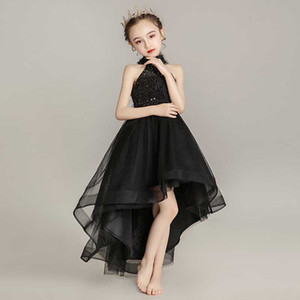 Wholesale new kids evening gown resale online - Children Princess Girl Qipao Long Birthday Evening Gown China Baby Chinese New Year Clothes Black Sleeveless Cheongsam Kids