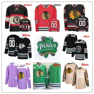 Custom Chicago Blackhawks 2019 Winter Classic Patrick Kane Duncan Keith Corey Crawford DeBrincat Gustafsson Glenn Hall Hockey Jerseys