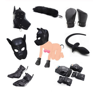 Dog Role Play Puppy Play Dog Hood Mask Dog's Paw Glove Crawl BDSM Bondage Dog Tail Plug Sexy Costume Fetish Sex Toys For Couples