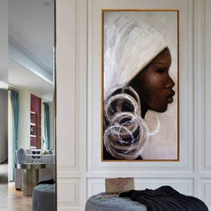 Wholesale african home decor walls for sale - Group buy Handmade african portrait Painting Hand Painted white black africa woman face Oil Painting On Canvas picture Wall Art Gift home decor