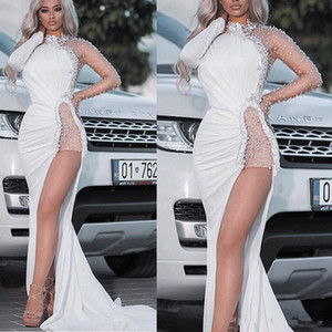 2020 High Neck Evening Dresses Mermaid Long Sleeves Beads Sexy Side Split Formal Dresses Wear vestido de festa on Sale