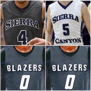 Wholesale Custom Sierra Canyon High School Basketball White Gray Bronny James Zaire Wade BJ Boston Jr Trailblazers Men Youth Kid Jersey