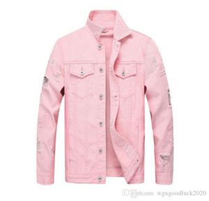 New Fashion Brand Denim Jacket Men Ripped Holes Mens Pink Jean Jackets Thin Male Cowboy Coat Garment Washed Mens Denim Coat Hombre Casaco