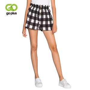 Wholesale GOPLUS Summer Shorts Womens Vintage Casual Plaid High Waist Buttons Elastic WaistShorts Womens Loose Leg Pantalones Cortos Muje