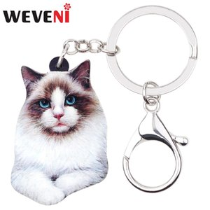 Wholesale WEVENI Acrylic Sweet Siamese Cat Key Chains Keychains Ring Cute Animal Pets Jewelry For Women Girls Car Bag Wallet Charms Gift