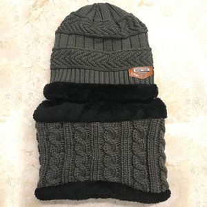 Wholesale Hot Sell Baby Kids Plush Hats Winter Warm Thickened Velvet Fleece Lining Knitted Hats with Scarf Average Size for Years