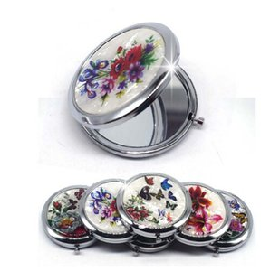 Wholesale Mini Makeup Compact Pocket Mirror Flower Butterfly Bamboo Metal Portable Two side Folding Makeup Mirror Vintage Cosmetic Mirrors