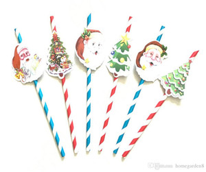 Wholesale Santa Claus Christmas tree shape paper card straws Christmas party decoration suction pipe fittings Decorative props various styles