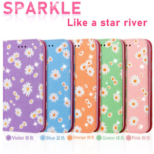 Wholesale case closure resale online - Flower Glitter Leather Wallet Case For Iphone Pro XR XS MAX SE Sparkle Suck Magnetic Closure Holder Stand Flip Cover Pouch