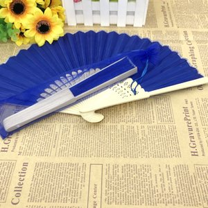 Wholesale blue designer hand bags for sale - Group buy 50PCS Dark Blue Wedding Fold Fan in Organza Bag Custom Printing Name Date Hand made Bamboo Foldable Fan Party Giveaways