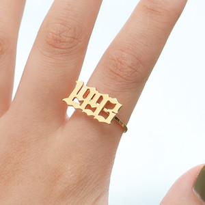 Wholesale Number Ring for her Birthday Ring Fashion Number Year Custom Rings gold Rings Old English