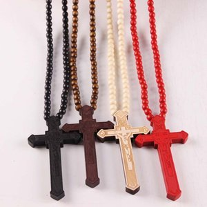 Wholesale Hot Wood Cross Pendant Necklaces Christian religious Wooden crucifix Charm beaded chains For women Men Fashion Jewelry Gift
