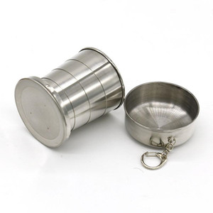 Portable Folding Cup 240ml Stainless Steel Portable Outdoor Travel Camping Folding Collapsible mugs Metal Telescopic Keychain Mugs WCW097