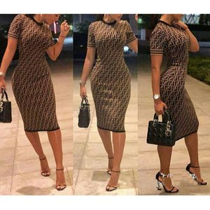 Wholesale 2019 New Fashion Sexy Womens Ladies Short Sleeve Printed Bowknot Bodycon Clubwear Party Dress Plus Size M XL