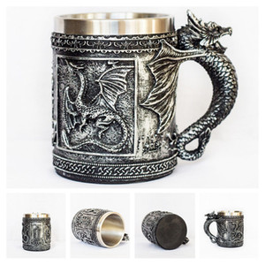 Wholesale Retro Dragon Resin Stainless Steel Beer Mug Skull Knight Tankard Halloween Coffee Cup Creative Viking Tea Mug Pub Bar Decoration