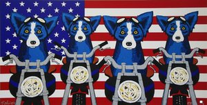 Wholesale easy canvas painting resale online - George Rodrigue Blue Dog Easy Riders Signed Home Decor Handpainted HD Print Oil painting On Canvas Wall Art Canvas Pictures