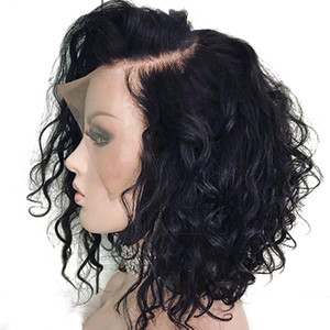 Wholesale short hand resale online - Bythair Short Wavy Bob Wig Lace Front Human Hair Wigs Bleached Knots Virgin Brazilian Full Lace Wig Pre Plucked Natural Hairline