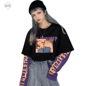 Wholesale Vintage Fake 2 Pieces Letter Women Sweatshirt Hit Color O Neck Long Sleeve Pullovers Casual Loose Female Autumn