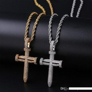 Wholesale Nail shaped Cross Zircon Man Hip hop Pendant Gold Silver Environmental Protection Copper Necklace New