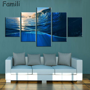 Wholesale Modern Sea Wave Canvas Painting Print Wall Art Picture Pieces set Oil Paintings on Canvas for Living Room Home Decorative Art No