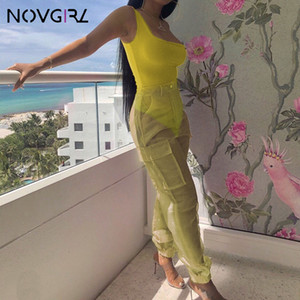 Two Piece Set One Shoulder Bodysuit Tops And mesh Cargo Pants 2019 Summer Club Party Sexy Outfit Jumpsuit Matching Set on Sale