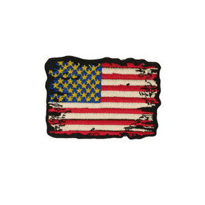 USA Flag Antique Broken Style Embroidered Iron-On Or Sew-On Patch For Chest Size 3*2.25 INCH Free Shipping