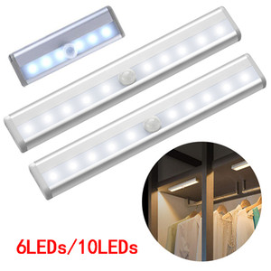 Wholesale led lights for cupboards resale online - 6 LEDs PIR LED Motion Sensor Light Cupboard Wardrobe Bed Lamp Battery Powered LED Under Cabinet Night Light For Closet Stairs Kitchen