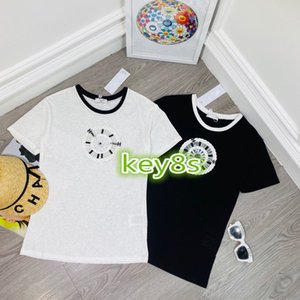 Womens Short Sleeve crew neck Clock sequin embroidery Printed Lady Tees short sleeves Fashion New Arrival Summer Women Short Sleeve Tee