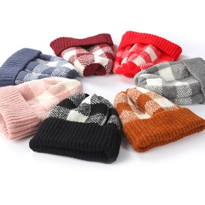 Wholesale Plaid Print Knitted Cap Cute Baby Keep Warm Winter Hat Outdoor Adult Sports Ski Hat Kids Woman Beanie Cap TTA1545