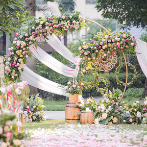 Wholesale White gold U heart round ring shape Metal Iron Arch Wedding Backdrop stand party Decor artificial Flower balloon Stand shelf