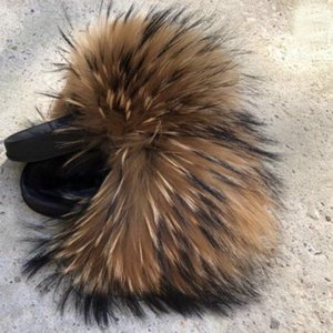 Wholesale 2019 Rass ple Wholesale Kids Real Fox Slippers Cute Raccoon Slides Fluffy Slippers Toddler Baby Girls Shoes Summer Flip Flops 1pairs 2pcs