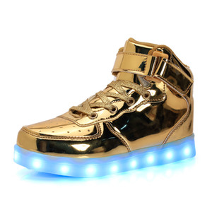 Wholesale LED Light Up Shoes Gold High Top girls and boys luces dorado Fashion USB Charge Red kids Casual Luminous sneakers for children eur25-40