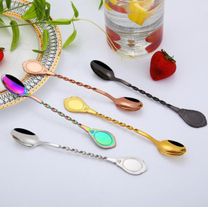 Creative spiral long handle bar stir spoon 304 stainless steel mixing cocktail spoon bartender bar tools free shipping