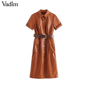 Wholesale Vadim women stylish PU leather midi dress short sleeve belt design pockets female casual elegant chic dresses vestidos QC918
