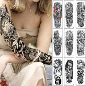 Wholesale full arm sleeve resale online - Fake Black Full Arm Temporary Body Tattoo Sticker Large Sleeve Waist Back Makeup Ancient Greek Style Clock Nun Decal Street Woman Man Tattoo