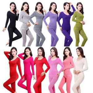 Wholesale Women Casual O Neck Long Sleeve Lace Floral Print Stretch Thermal Underwear Set Fashion New Women Thermal Underwear Set