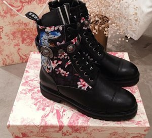 2019 19SS spring fall womens Ladies black REAL LEATHER with Floral Fabric canvas zip up Combat Military BOOTS