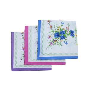 Set 12Pcs Floral pattern handkerchiefs Cotton blended fabric for Child Female clothing