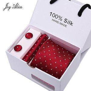 Joy alice New Men's Tie Hanky Cufflinks Set With Gift Box Red polka dot Fashion Ties For Men Wedding Business Party Groom SB43