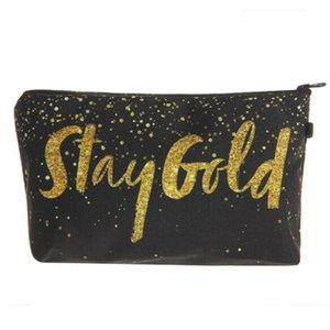 Hot 3D Printing Golden Alphabet Waterproof Makeup Organizer Storage Fashion Travel Phone Pencil Bags Women Cosmetic Bag