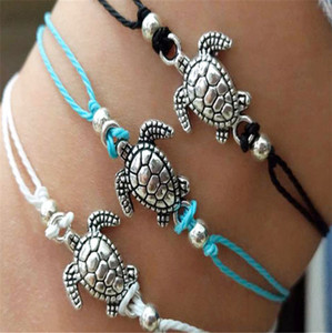 Wholesale Cheap Summer Beach Turtle Charm Rope String Anklets For Women Ankle Bracelet Woman Sandals Chain Foot Jewelry