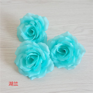 Wholesale Tiffany Blue Valentine s Day CM Artificial Roses Flower Head Wedding Decoration Fake Flowers Lake Blue flores artificiales