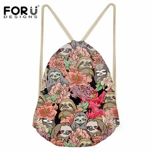 Wholesale FORUDESIGNS Sloths Pattern Daily Backpack Sack for Girls Boys Fashion Small Drawstring Bag Ladies Travel Shoe Storage Bag String