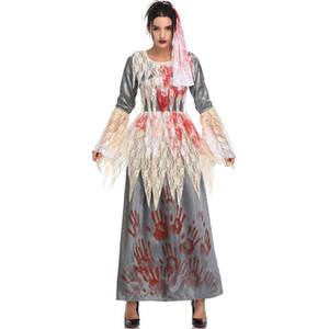 Wholesale ghost movies resale online - Womens Vampire Ghost Bride Dress Woman Halloween Lace Patchwork Flare Sleeve Dresses Women Cosplay Fashion Costume