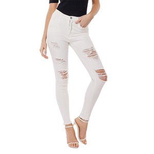 Wholesale JoursNeige White Ripped Jeans for Women New Slim Stretch Jeans Woman Skinny Casual Denim Pencil Pants Female Trousers