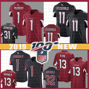 Wholesale 11 Larry Fitzgerald Football Jersey Arizona Kyler Murray Cardinals David Johnson Adrian Peterson th Jerseys color rush red black