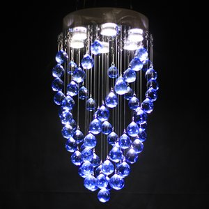 Wholesale crystal chandelier Blue crystal Rotating crystal Big ball diameter12.6 in height 23.6in 6 the light bulb